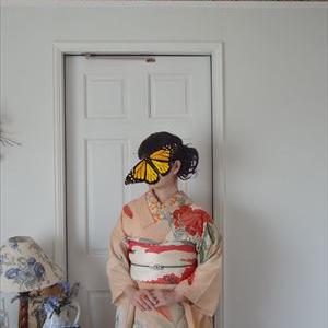 秋桜と百合の絽縮緬の着物と白鷺の帯