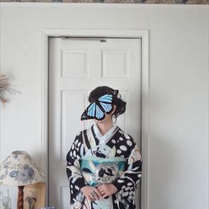クールな薔薇帯に水玉と蜻蛉の単衣