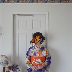 初秋の花の単衣