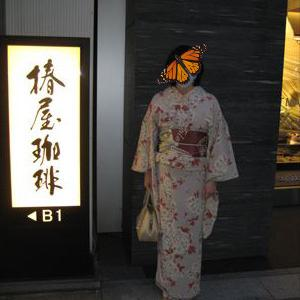 シックな桜の小紋とアールデコな帯