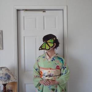 虫かごの刺繍帯と夏虫色の絽縮緬の訪問着