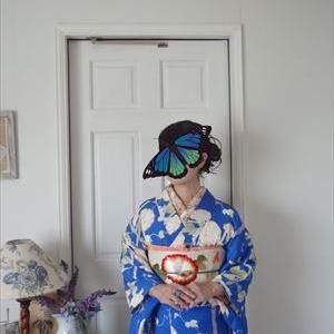 朝顔の単衣と朝顔の刺繍帯
