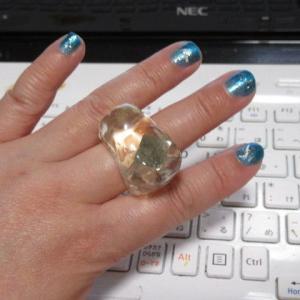 【手作りアクセサリー】 パイライトを使ったレジンの指輪を、少しリフォーム