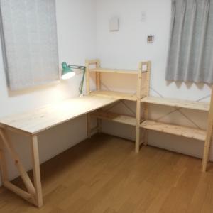 IKEAのシェルフユニットを使って学習机をDIYしました。