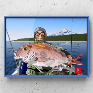 エクセル画で鯛(釣り人はおまけ)