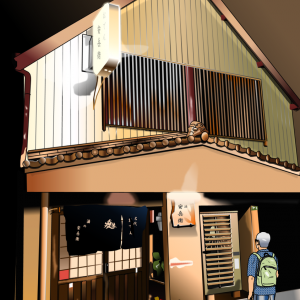 博多の西中洲で行く当てもなく飛び込んだおでん屋、「安兵衛」をエクセルで描いてみた