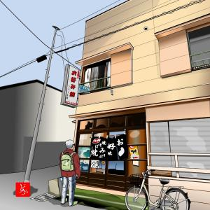 近所の穴場のお好み焼き屋「ひろしま屋」をエクセルで描いてみた