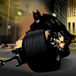 『ダークナイト』でバットポッドに乗ったバットマンをエクセルで描いてみた