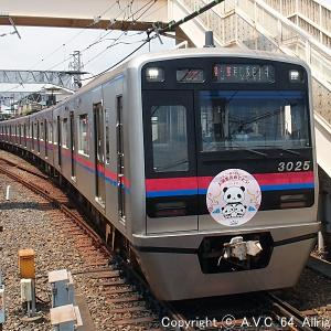 京成電鉄3000形(双子のパンダ誕生記念HM)~今頃ですが…