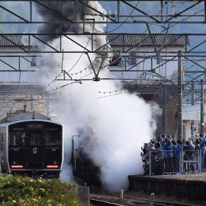 植木駅周辺に200人の俄か鉄、8620形58654号機「SL鬼滅の刃」