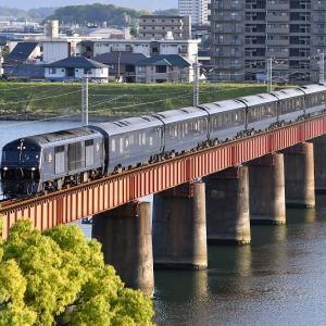 大淀川橋梁で本命を撮る、77系「ななつ星in九州」