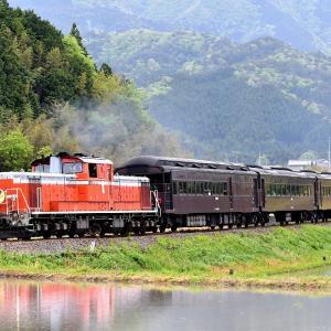 横切る姿を撮る、DD511043号機牽引の「DLやまぐち号」