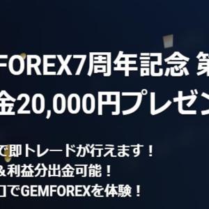 GEMFOREX 口座開設ボーナスのご案内 7周年記念第一弾!海外FX ボーナス!