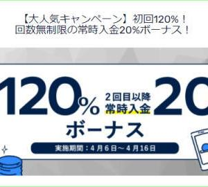 FXGTの最大120%入金ボーナスキャンペーン【2021/04/16まで】