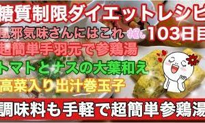 【料理 節約】風邪気味さんにはこれ!超簡単手羽元で参鶏湯 糖質制限ダイエット103日目