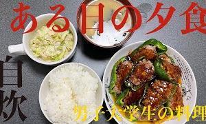 [料理vlog]男子大学生リアルな夜ご飯!!ピーマンの肉詰め|コールスロー🥬|節約|自炊|