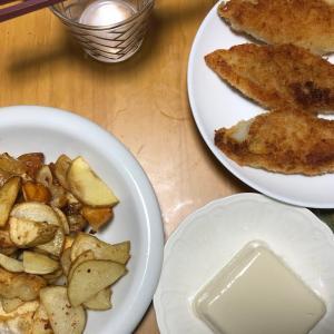 【大食い】【料理】白身魚のフライとポテトと豆腐85円【節約】