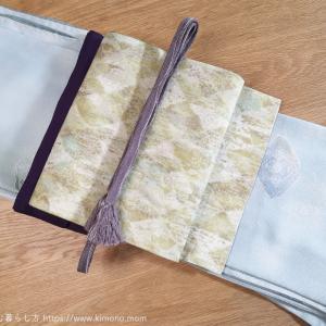 本日のお着物。きれいめ小紋と京袋帯。