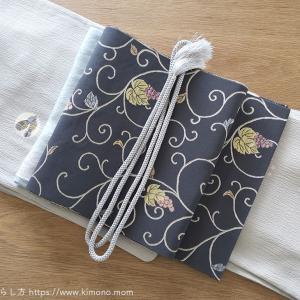 本日のお着物。お気に入りの紬と葡萄唐草の名古屋帯。