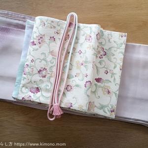 本日のお着物。上品な薄ピンクの附下げと袋帯。