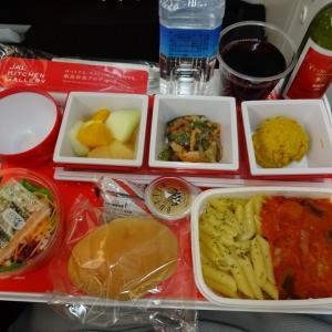 JL004便エコノミークラスのシートと機内食