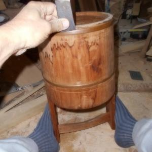 お盆なので手桶の修理