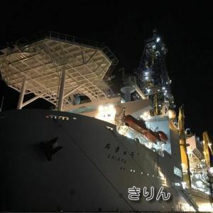 地球深部探査船「ちきゅう」のライトアップ…静岡市清水区