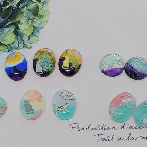 【ガラスカボション+100均マニキュア】✨色の組み合わせやネイルシールでアレンジ色々🎵アクセサリー作り✨