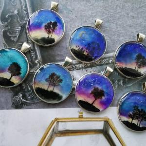 キャンドゥのリキュールネイルとフェアリーダストパウダーが使える‼️イラストシートでキレイな夜空の風景レジン🎵
