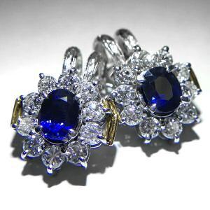サファイア 0.84ct 0.80ct ダイヤモンド 0.80ct x2 計1.60ct イヤリング K18 PT900 K14WG ロイヤルブルー