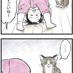 はしゃぐ幼児とドン引く猫