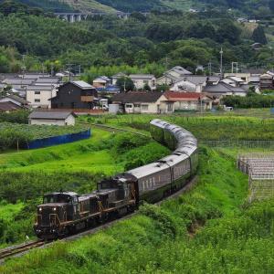 DE10重連牽引の「ななつ星in九州」~再び九大線で撮る
