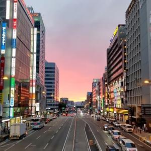 阿倍野歩道橋から見た夕焼け