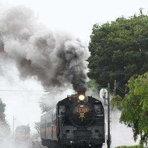 蒸気機関車(もおか路_市塙)+飛行機(国際線_4発)