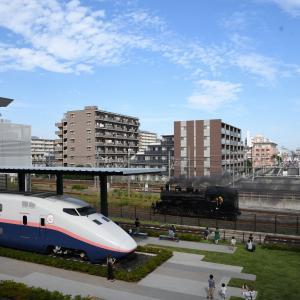 蒸気機関車(鉄博_C12_試運転)+飛行機(ANA_カーゴ)