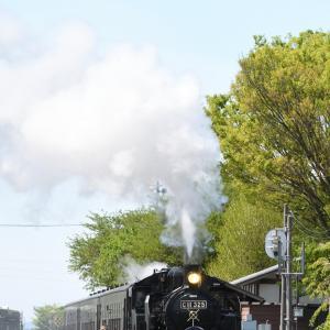 蒸気機関車(もおか路_西田井)+飛行機(JAL(JA821J))