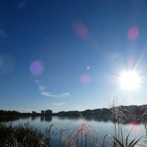 9月10日の佐鳴湖畔 青空が広がる朝