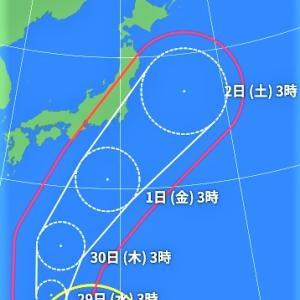 台風、大分向きを東に