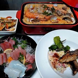 ビンチョウマグロとアオリイカの刺身とBRUNO鍋で作ったパエリア♪♪・・・包丁のプレゼントは、刃物屋ドットコムにお任せ下さい!!