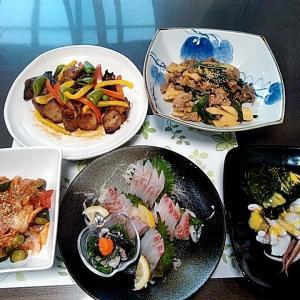 地元産グレの刺身と若竹の牛肉炒めとスペアリブ♪♪・・・包丁のプレゼントは、刃物屋ドットコムにお任せ下さい!!