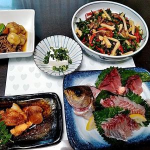 地元産イサキとヨコワのお刺身と赤身魚の煮付け♪♪・・・包丁のプレゼントは、刃物屋ドットコムにお任せ下さい!!