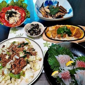 地元産石鯛のお刺身とニナ貝煮とカツとじ・・・包丁のプレゼントは、刃物屋ドットコムにお任せ下さい!!