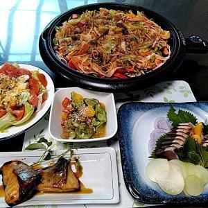 地元産カツオのタタキとクラゲの酢の物とカボチャのサラダ・・・包丁のプレゼントは、刃物屋ドットコムにお任せ下さい!!