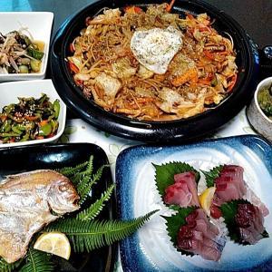 地元産ヨコワの刺身とレンコ鯛の開きと焼きそば♪♪・・・包丁のプレゼントは、刃物屋ドットコムにお任せ下さい!!