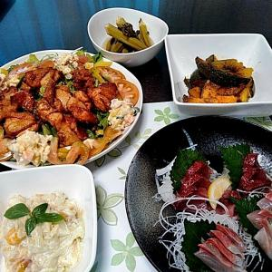 シマアジとカツオの刺身と鶏の竜田揚げとカボチャのはちみつ焼き♪♪・・・包丁のプレゼントは、刃物屋ドットコムにお任せ下さい!!