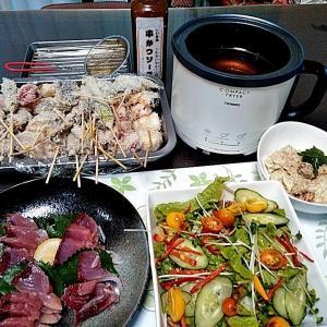 ヨコワの刺身と串カツと野菜サラダ♪♪…包丁のプレゼントは、刃物屋ドットコムにお任せ下さい!!