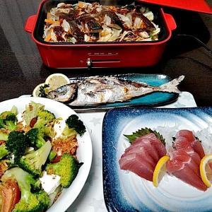 キハダマグロのお刺身とBRUNO鍋での鮭のちゃんちゃん焼き♪♪・・・包丁のプレゼントは、刃物屋ドットコムにお任せ下さい!!