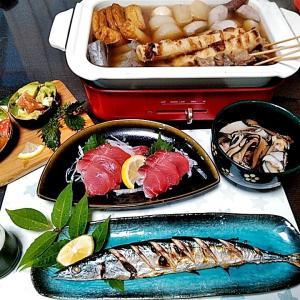 キハダマグロのお刺身とBRUNO鍋でのおでんとサンマの塩焼き♪♪…包丁のプレゼントは、刃物屋ドットコムにお任せ下さい!!