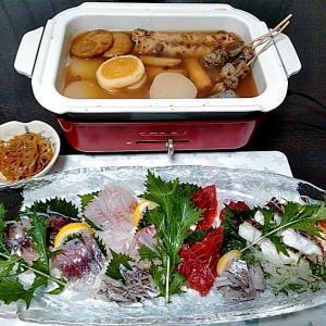 キハダマグロとイシガキ鯛と真アジと太刀魚のお刺身とウツボのタタキ♪♪・・・包丁のプレゼントは、刃物屋ドットコムにお任せ下さい!!