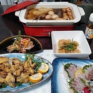 地元産真鯛の刺身と鯵とレンコンのてんぷらと鯵の南蛮漬け♪♪・・・包丁のプレゼントは、刃物屋ドットコムにお任せ下さい!!